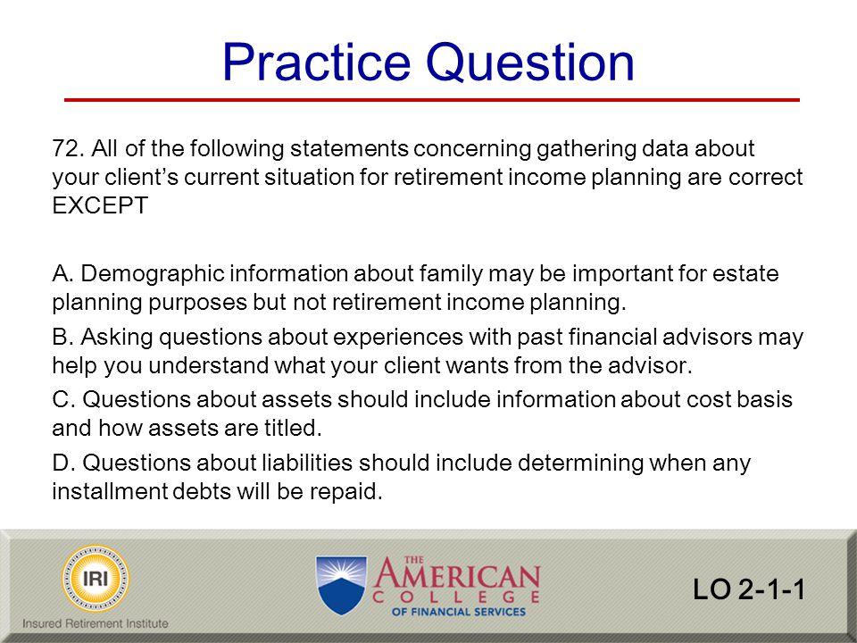 Practice Question LO 2-1-1