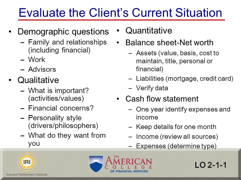 Evaluate the Client's Current Situation