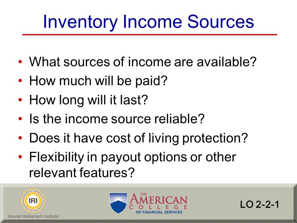 Inventory Income Sources