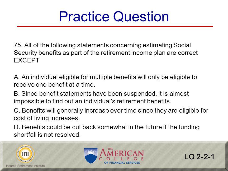 Practice Question LO 2-2-1