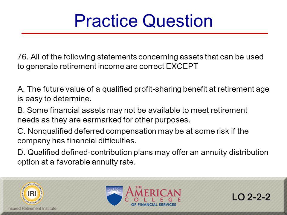 Practice Question LO 2-2-2