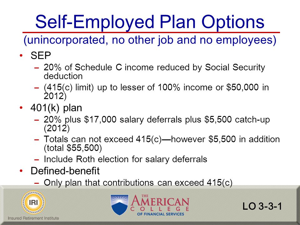 Self-Employed Plan Options (unincorporated, no other job and no employees)