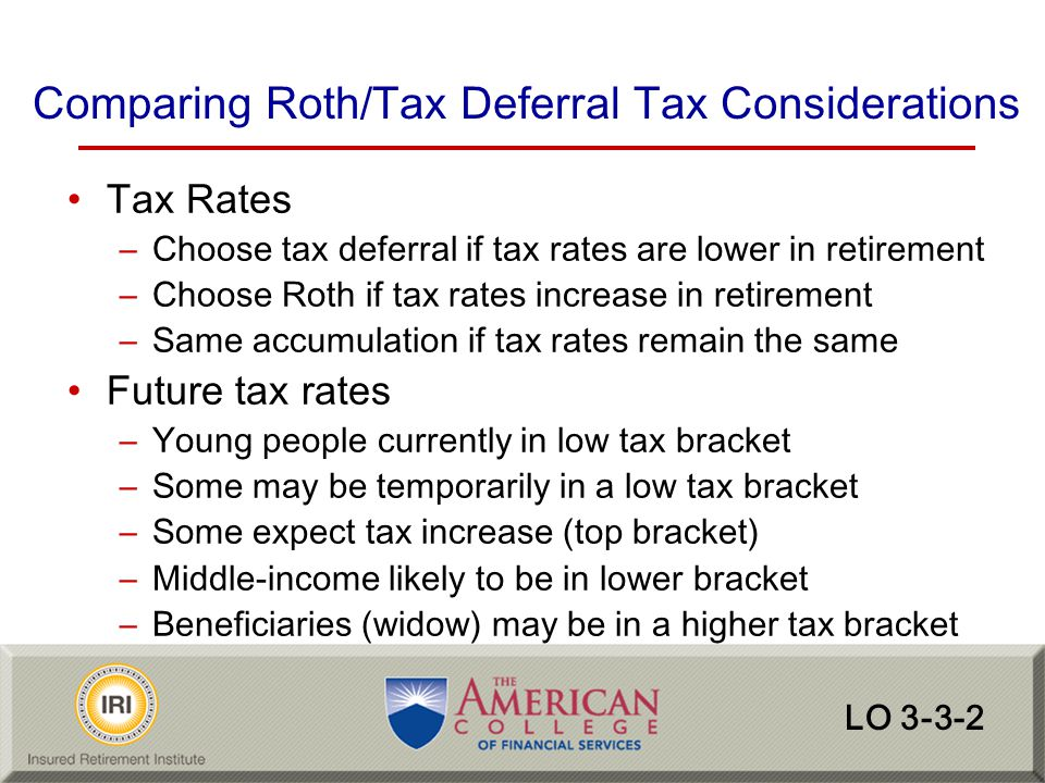 Comparing Roth/Tax Deferral Tax Considerations