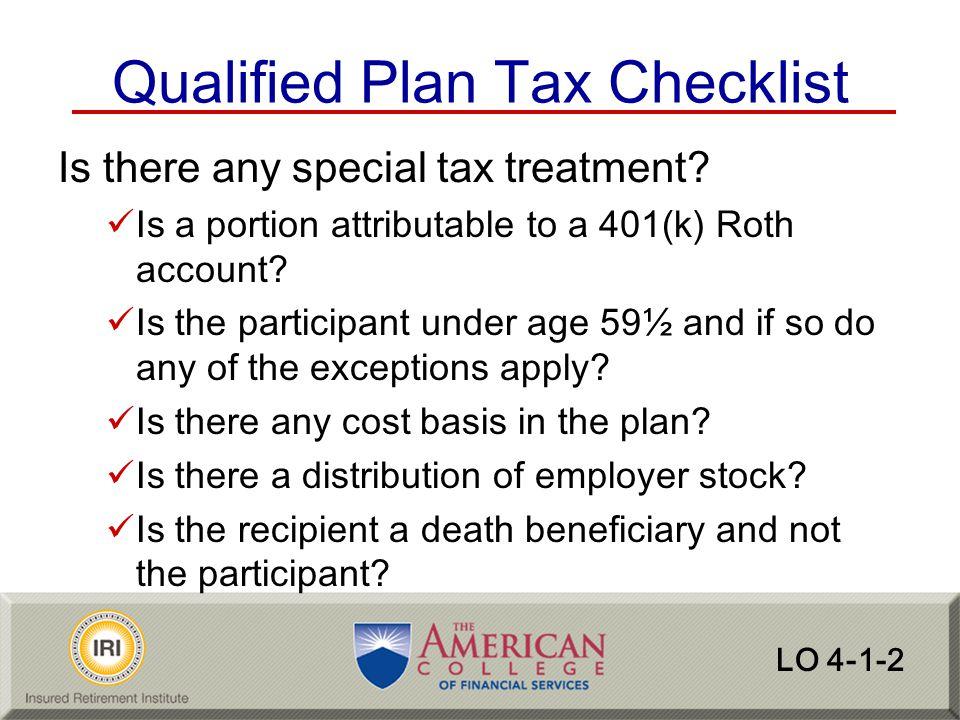 Qualified Plan Tax Checklist