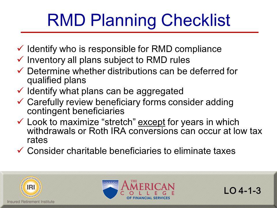 RMD Planning Checklist