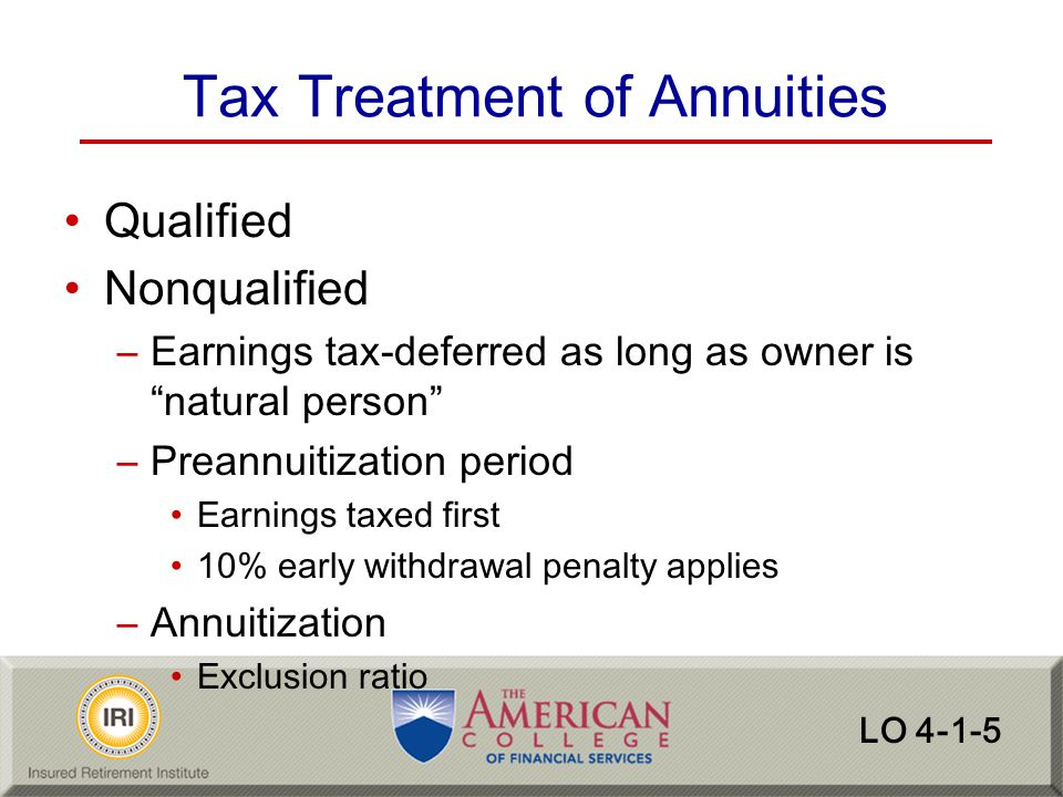 Tax Treatment of Annuities