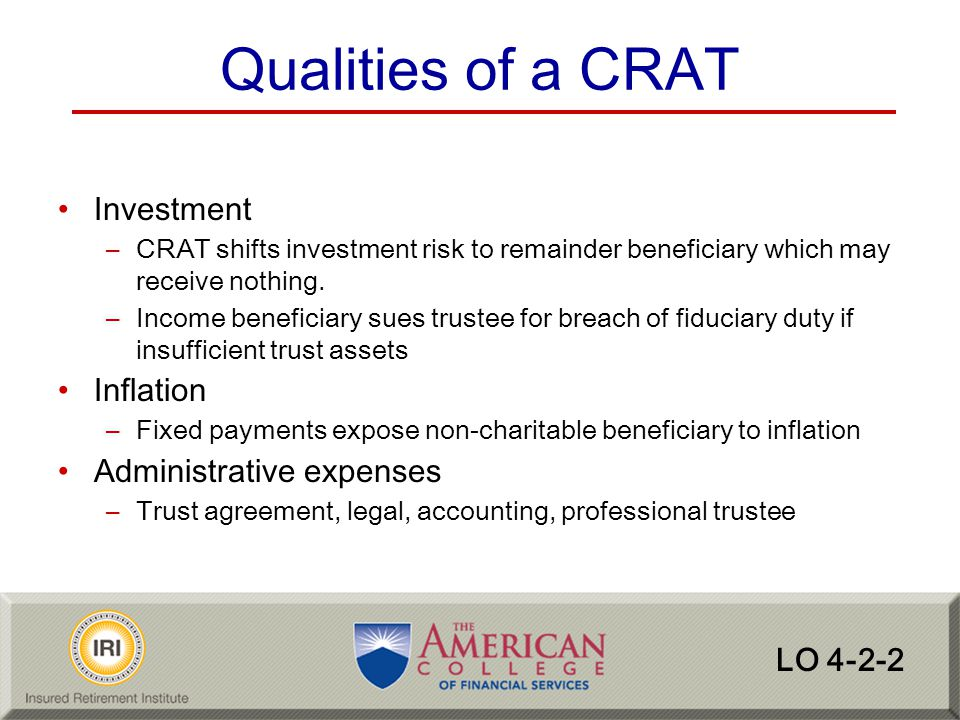 Qualities of a CRAT Investment Inflation Administrative expenses