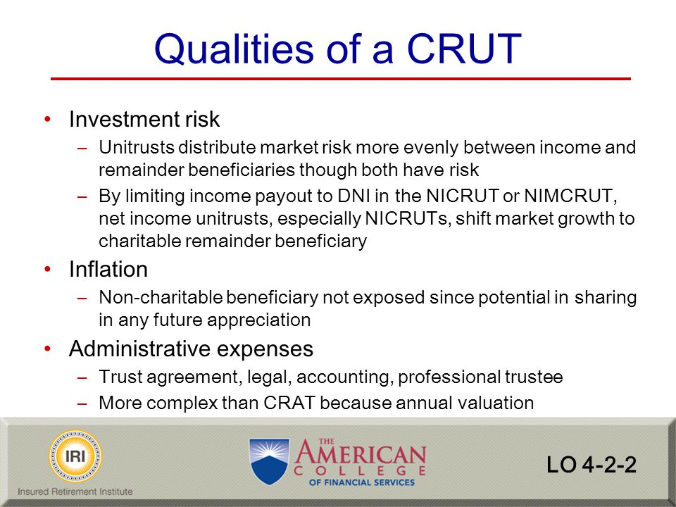 Qualities of a CRUT Investment risk Inflation Administrative expenses