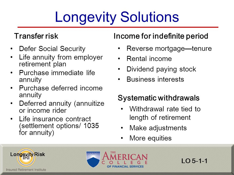 Longevity Solutions Transfer risk Income for indefinite period