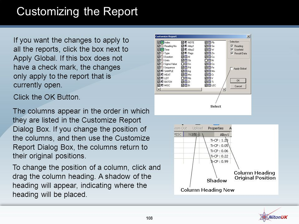 Customizing the Report