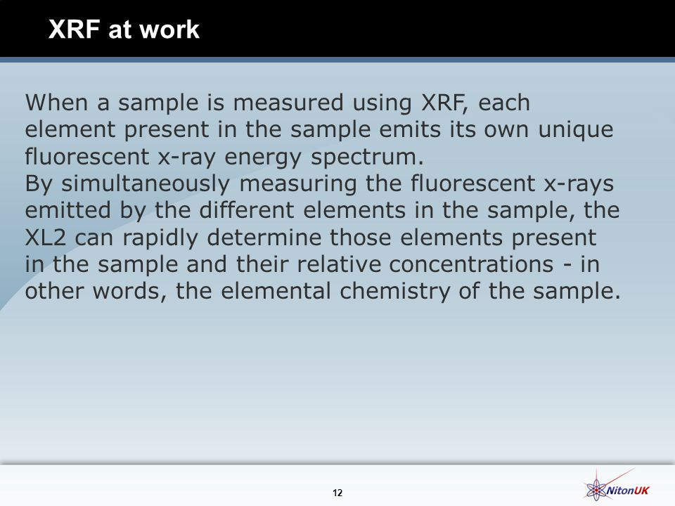 XRF at work When a sample is measured using XRF, each element present in the sample emits its own unique fluorescent x-ray energy spectrum.