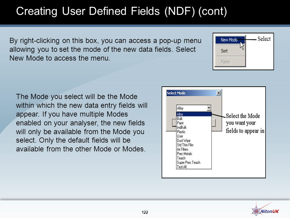 Creating User Defined Fields (NDF) (cont)