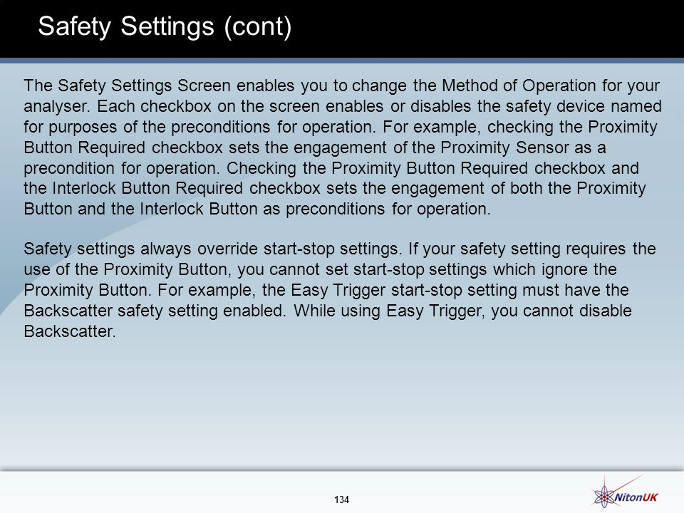 Safety Settings (cont)