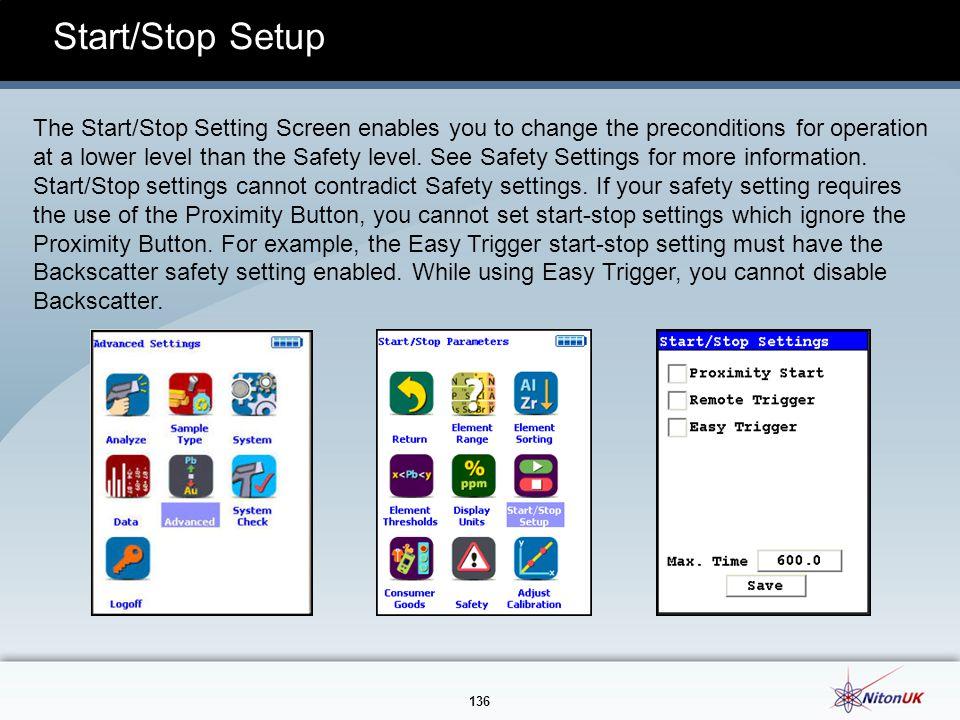 Start/Stop Setup