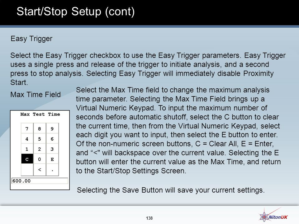 Start/Stop Setup (cont)