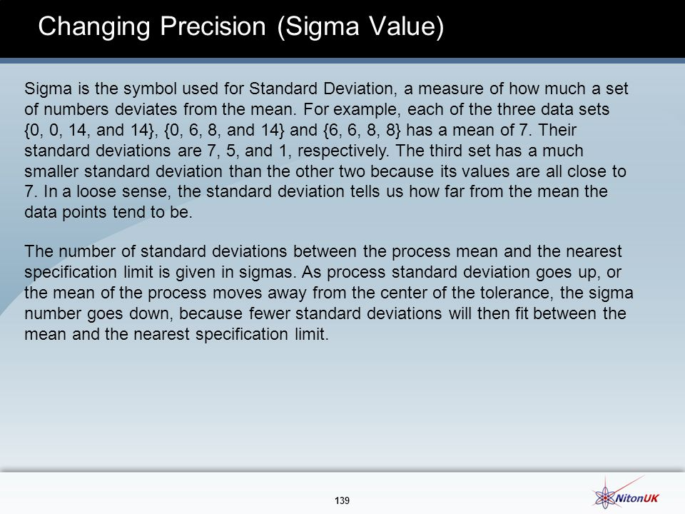 Changing Precision (Sigma Value)