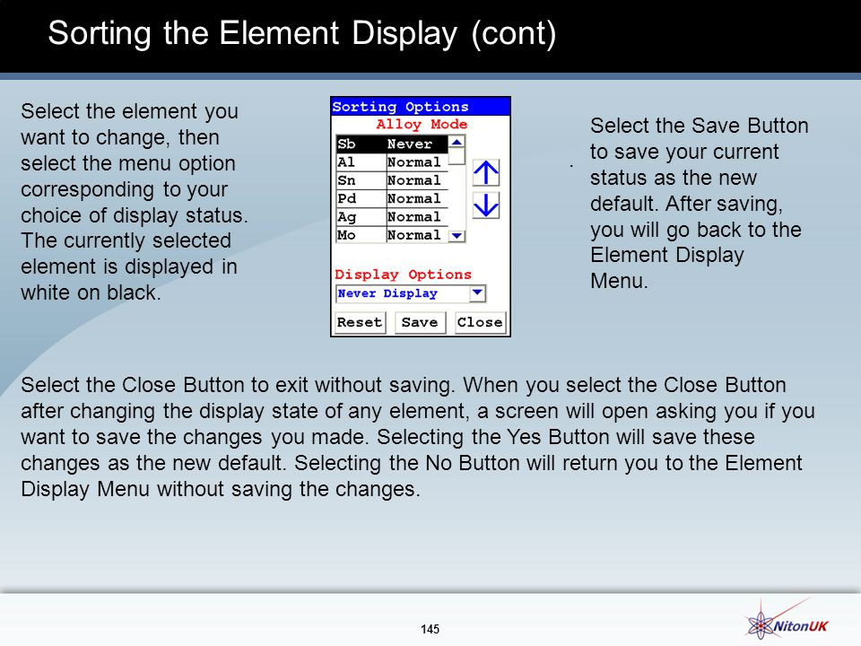 Sorting the Element Display (cont)