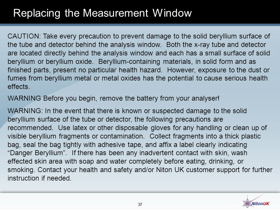 Replacing the Measurement Window