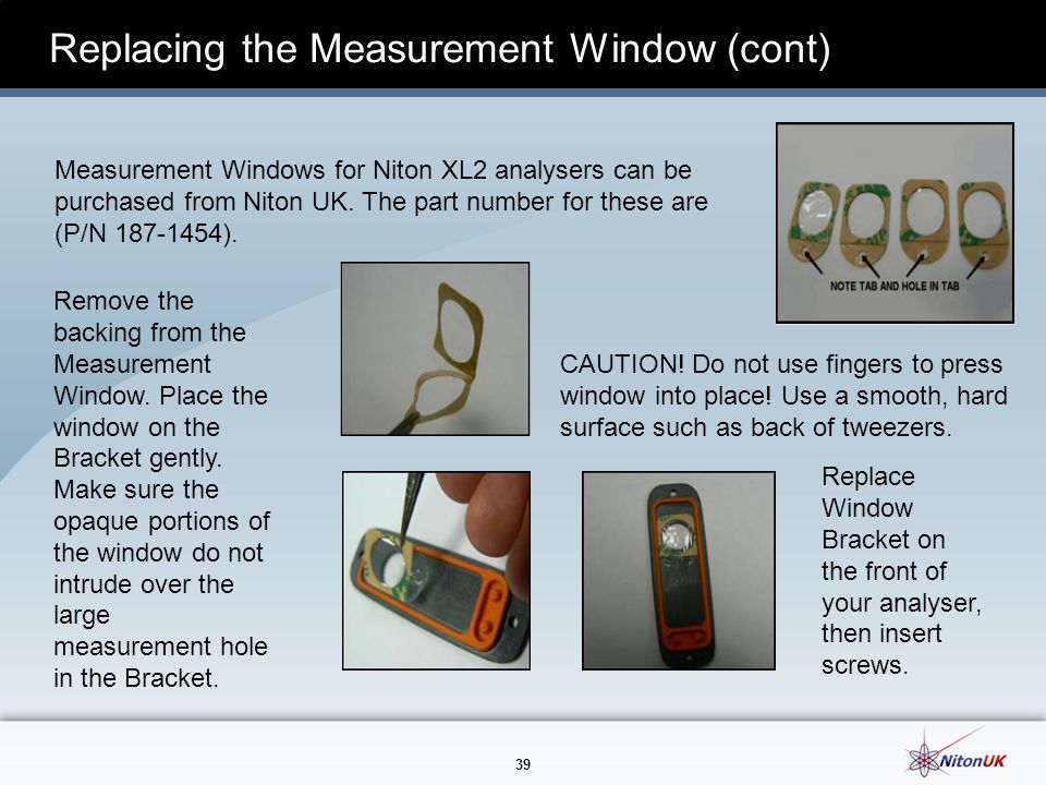 Replacing the Measurement Window (cont)