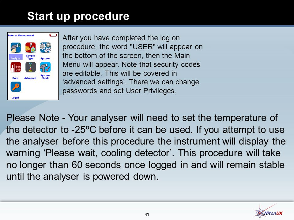 Start up procedure