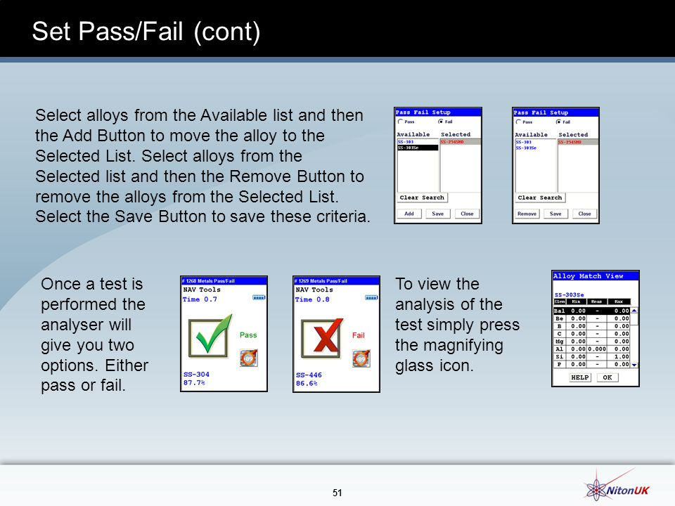 Set Pass/Fail (cont)