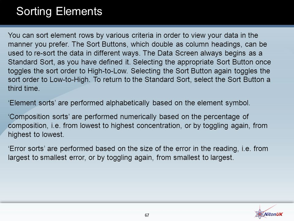 Sorting Elements