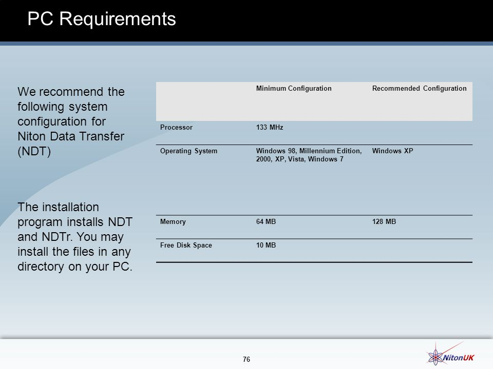 PC Requirements We recommend the following system configuration for Niton Data Transfer (NDT) Minimum Configuration.