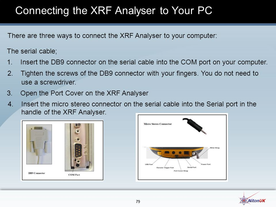 Connecting the XRF Analyser to Your PC