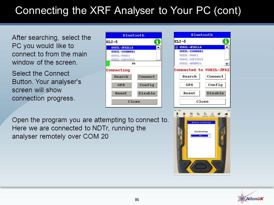 Connecting the XRF Analyser to Your PC (cont)