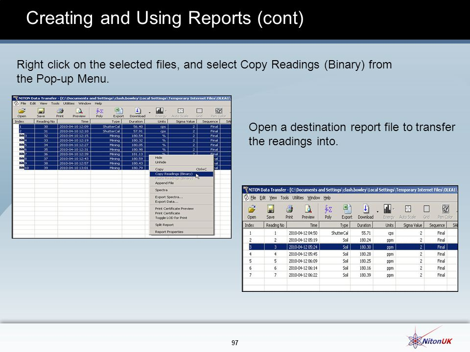 Creating and Using Reports (cont)