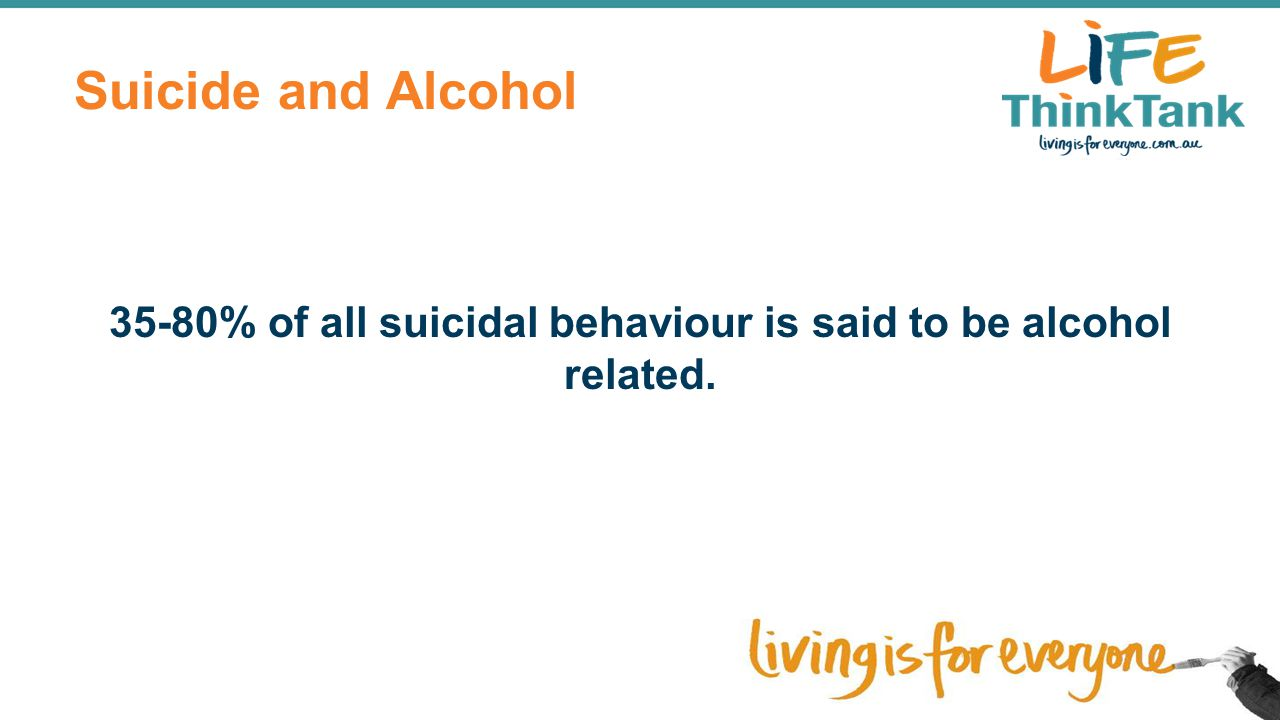 35-80% of all suicidal behaviour is said to be alcohol related.
