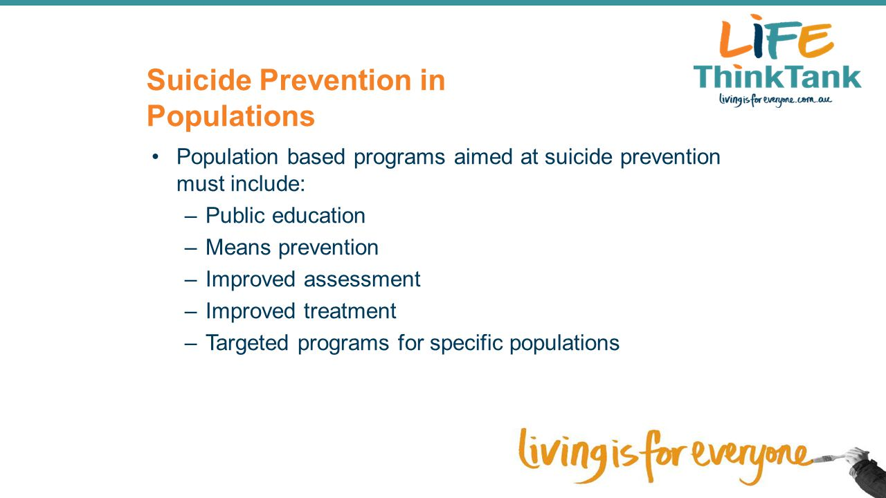 Suicide Prevention in Populations
