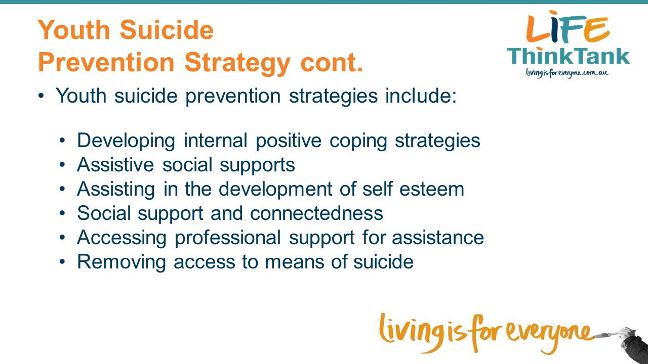 Youth Suicide Prevention Strategy cont.