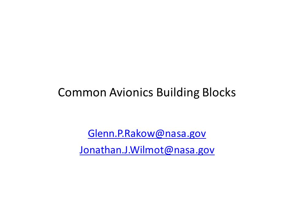 Common Avionics Building Blocks