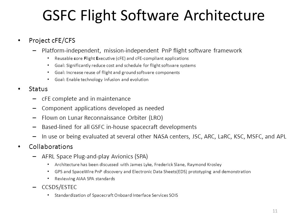GSFC Flight Software Architecture