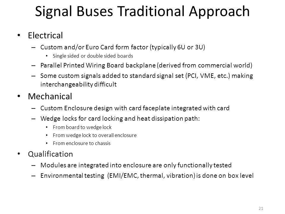 Signal Buses Traditional Approach