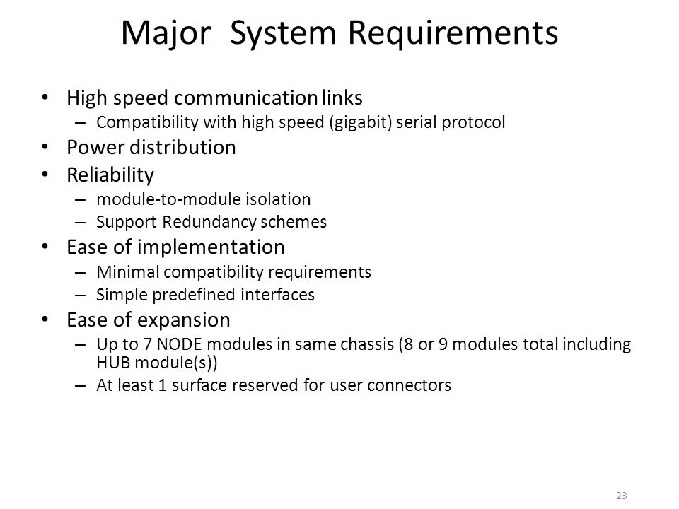 Major System Requirements