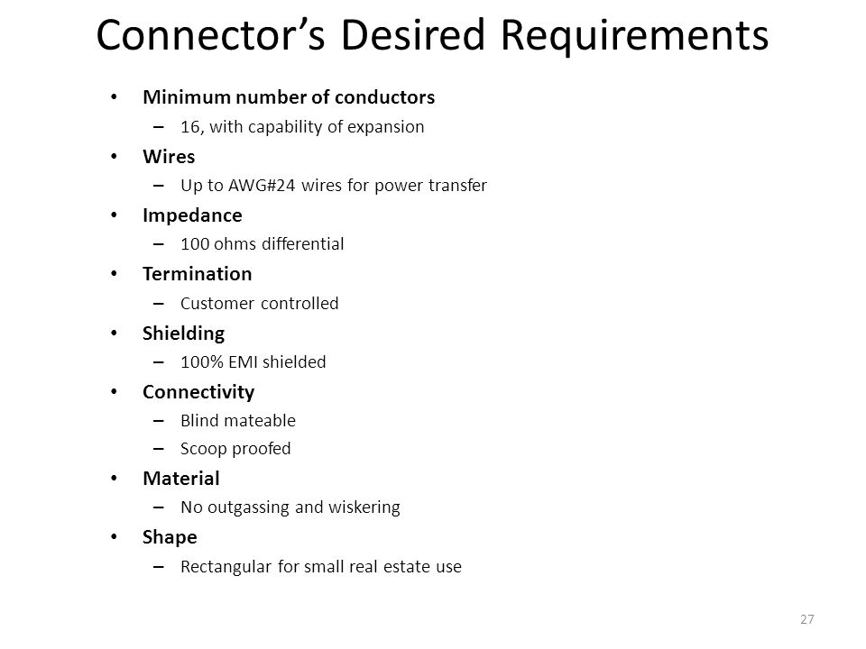 Connector's Desired Requirements