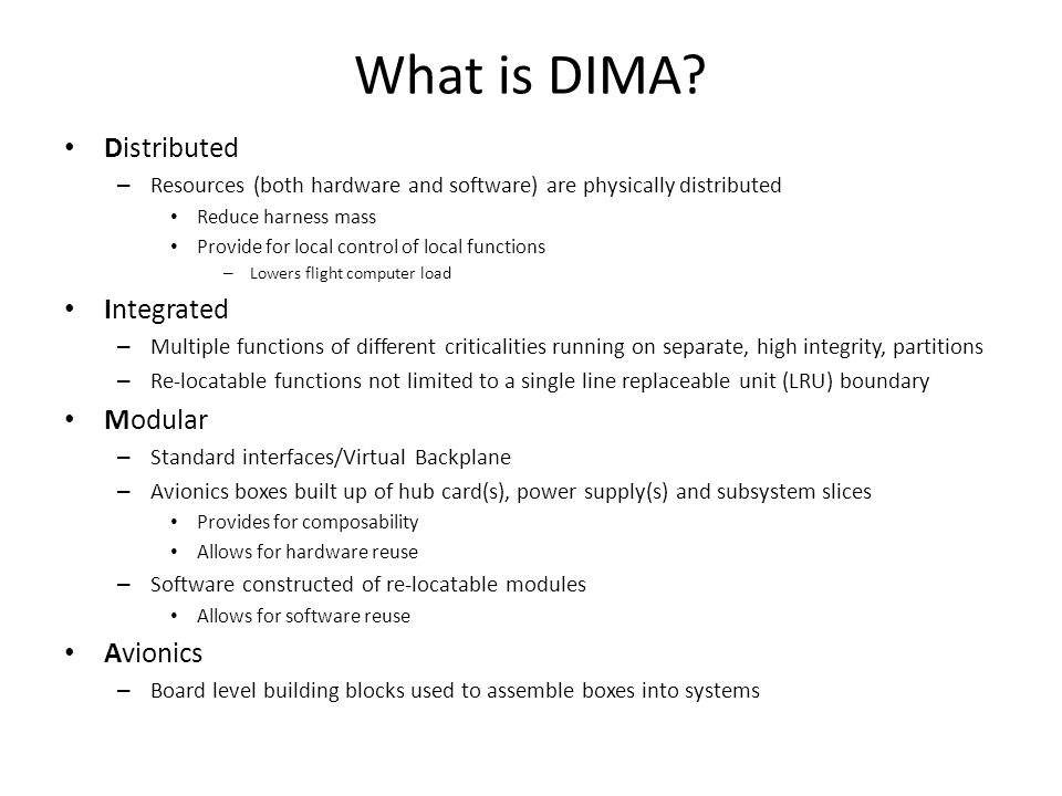 What is DIMA Distributed Integrated Modular Avionics