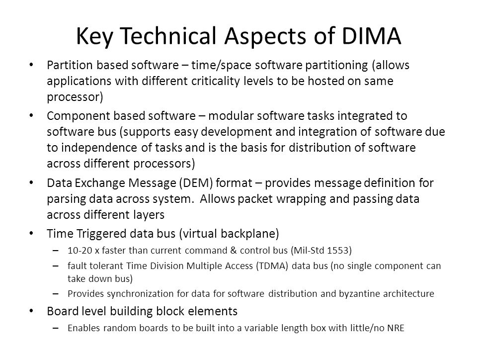 Key Technical Aspects of DIMA