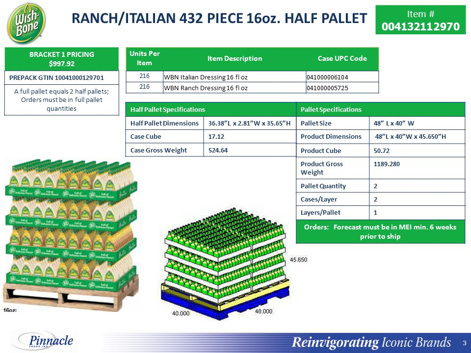 RANCH/ITALIAN 432 PIECE 16oz. HALF PALLET