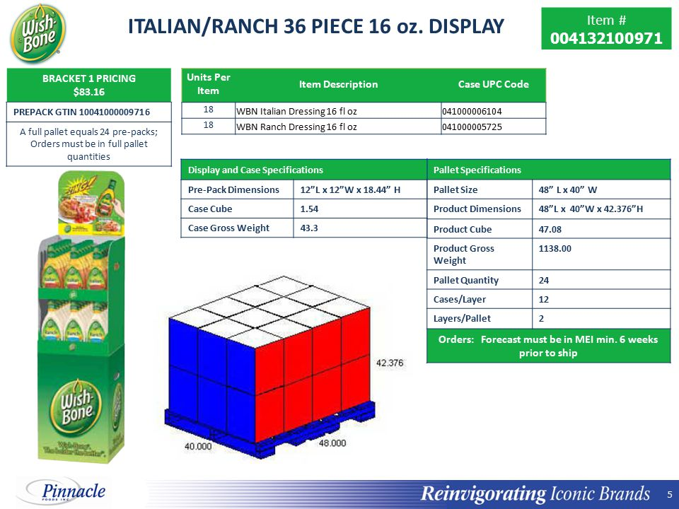 ITALIAN/RANCH 36 PIECE 16 oz. DISPLAY