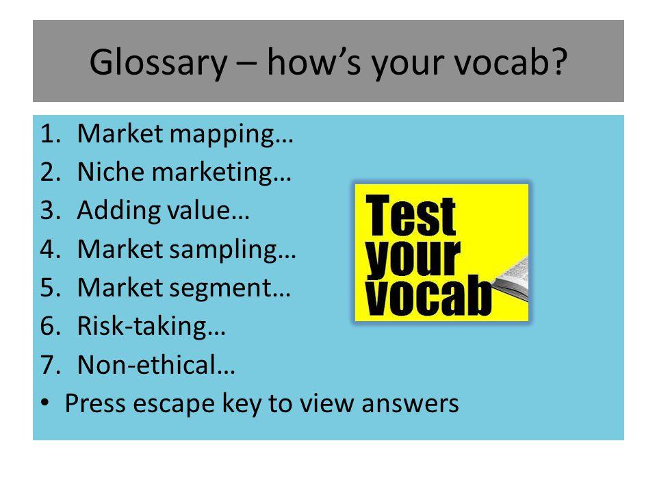 Glossary – how's your vocab
