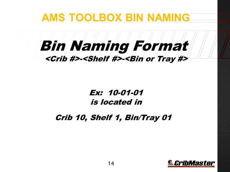 Bin Naming Format <Crib #>-<Shelf #>-<Bin or Tray #>