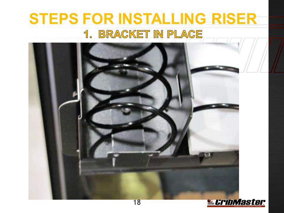 Steps for installing riser 1. Bracket in place