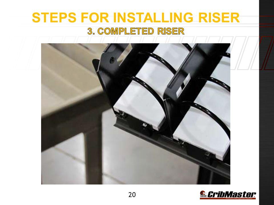 Steps for installing riser 3. Completed riser