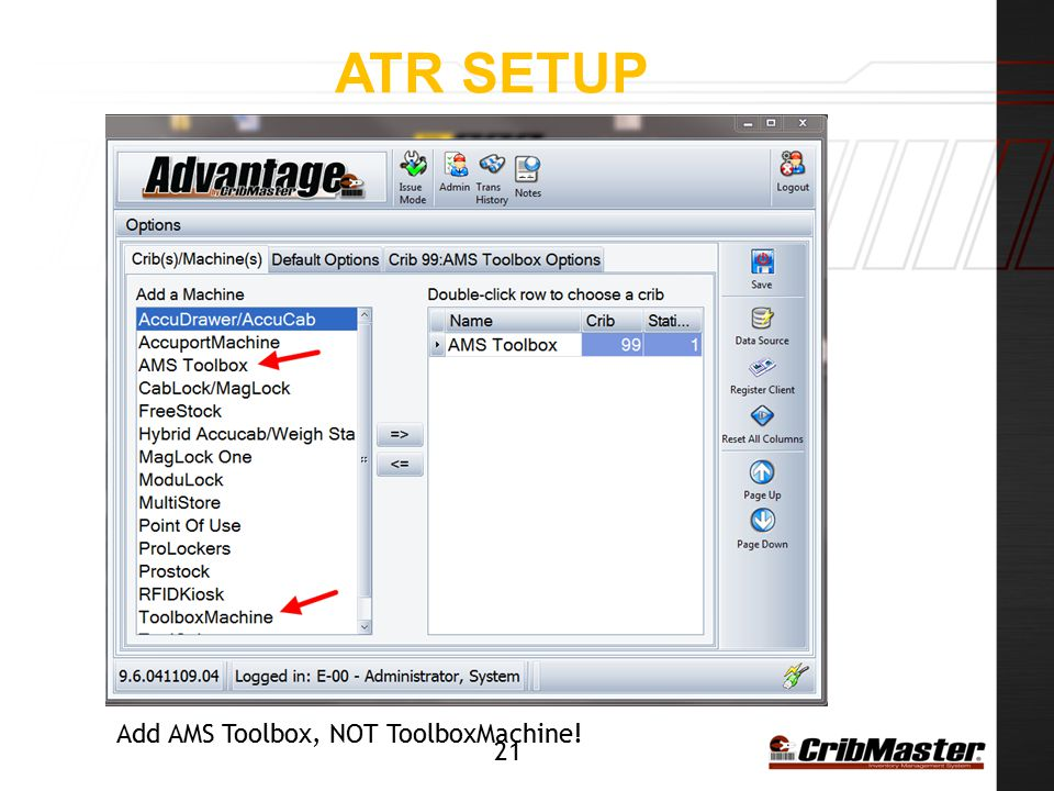 ATR Setup Add AMS Toolbox, NOT ToolboxMachine!
