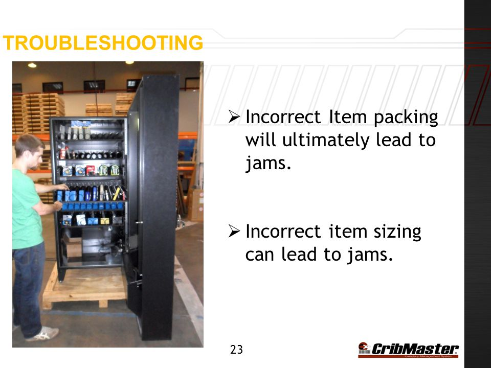 Troubleshooting Incorrect Item packing will ultimately lead to jams.