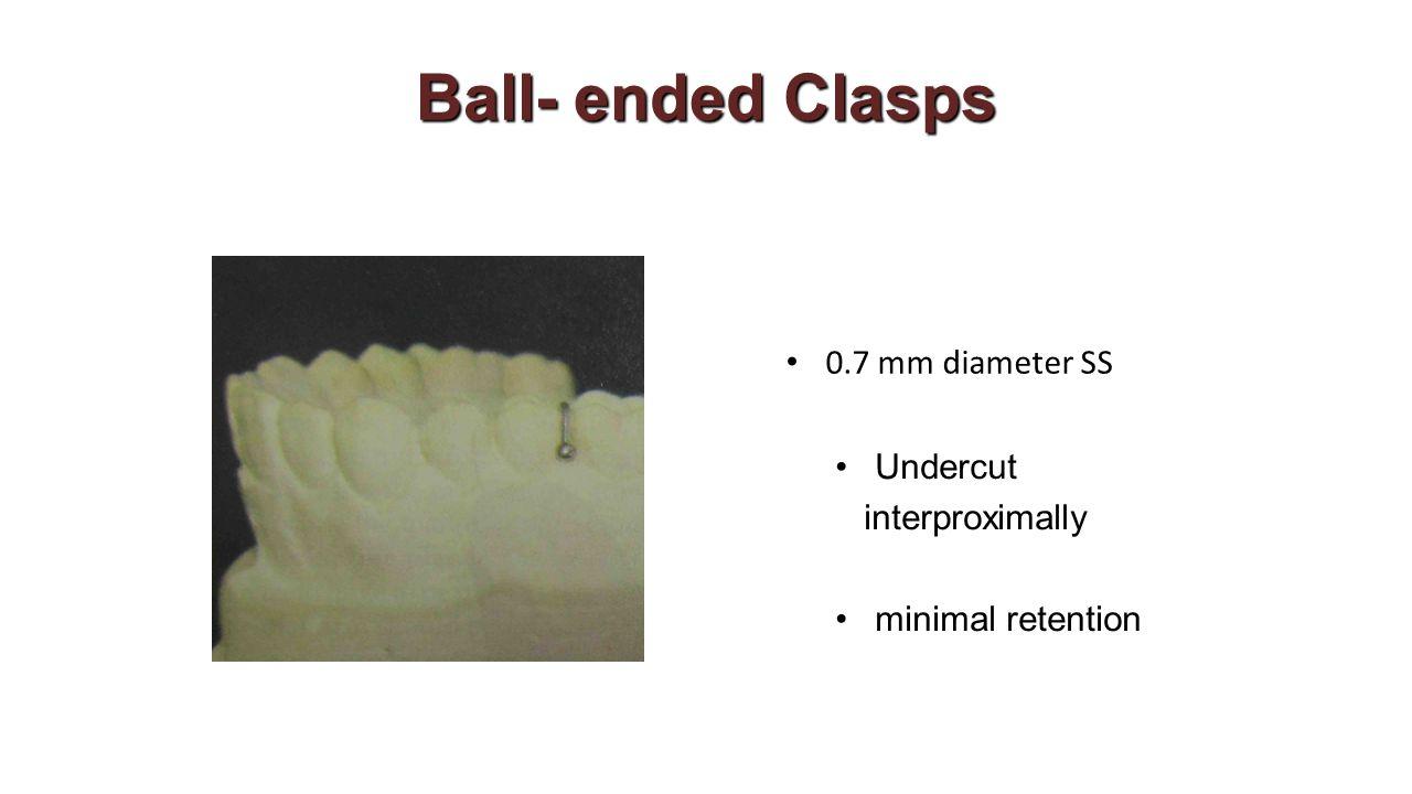 Ball- ended Clasps 0.7 mm diameter SS Undercut interproximally