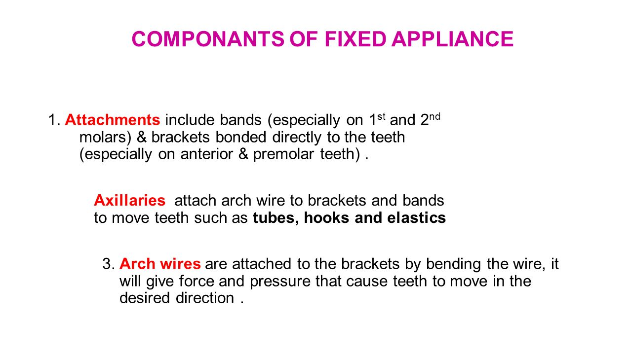 COMPONANTS OF FIXED APPLIANCE